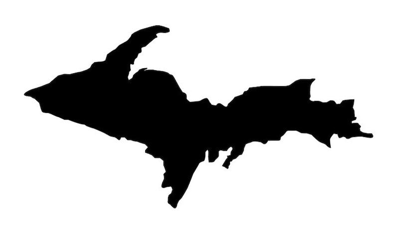 Upper Peninsula silhouette vinyl decal image 0