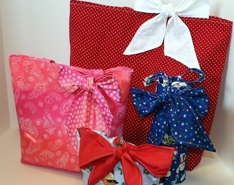 Gift Bags with Bows pdf Sewing Pattern