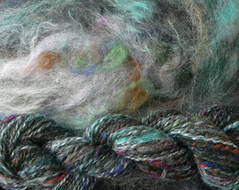 Stone Soup in Blacks and Blues and Greens a Hand dyed and Custom Blended Spinning Fiber Batts from Crosspatch Creations