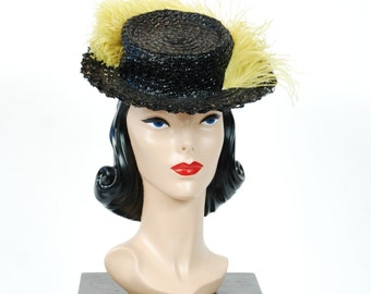 Vintage 1940s Tilt Hat - Jaunty Black Cellophane 40s Tilt Topper with Huge Chartreuse Feather