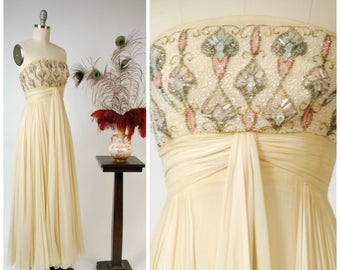 Vintage 1960s Gown - Rare HELENA BARBIERI Exquisite Custom Made Silk Chiffon 60s Strapless Dress with Beaded Bodice Bergdorf Goodman