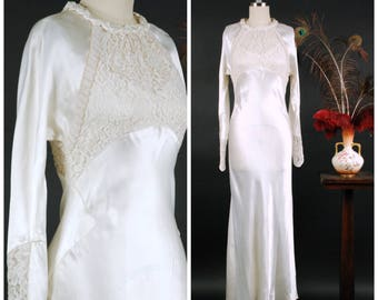 f24a7e0088 Vintage 1930s Wedding Dress - Exquisite Rayon Charmeuse Bias Cut Wedding  Gown with Deep Sheer Lace and Diagonal Beaded Trim