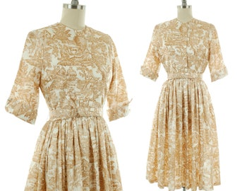 2f83da003a7 Vintage 1950s Dress - Early 60s Jonathan Logan Novelty Print Dress with  Golden Brown Pastoral Toile Illustration
