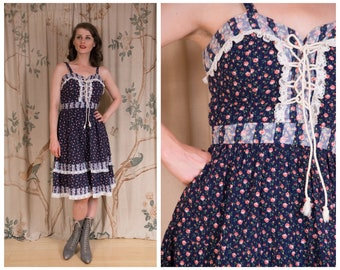 1970s Dress - The Amelia Dress - Vintage 70s Seersucker Sundress with Gunne Sax Inspired Corset Laced Bodice in Dark Floral Calico