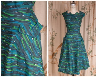 1950s Dress - The Alpane Dress - Rich Vintage 50s Two Piece Set with Sleeveless Dress and Matching Jacket in Blues and Greens