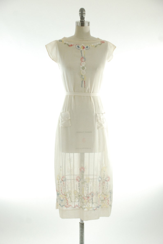 d6816437113 Vintage 1920s Dress White 20s Summer Dress in Sheer White