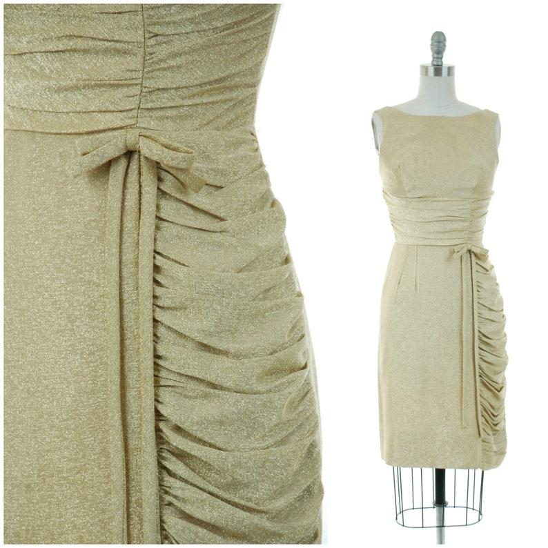 b34195705f73 Vintage 1960s Dress Bombshell Gold Lurex 60s Wiggle Dress   Etsy
