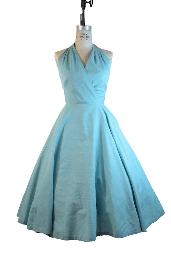 Vintage 1950s Sundress - Aqua Colored 50s Cotton H