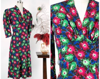 Vintage 1930s Dress - Beautiful Jewel Toned Silk Floral Print Late 30s Day Dress with Full Sleeves and Divided Bust