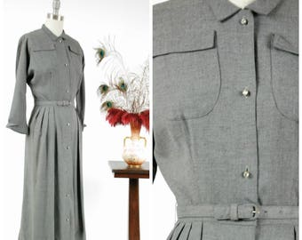 Vintage 1950s Dress - Heathered Grey Zip Button Gabardine 50s Day Dress with Bold Pockets and Three Quarter Sleeves