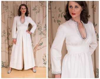 1960s Jumpsuit - The Alba Jumpsuit -  RARE Vintage 60s Wide Legged One Piece Pantsuit in Wedding White by Dynasty with Beaded Neckline