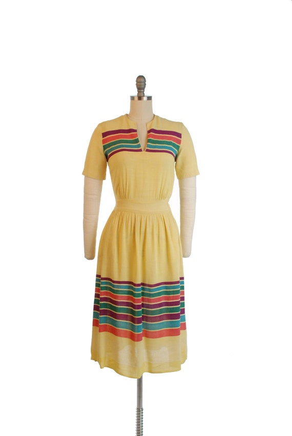 Vintage 1940s Dress - Charming Sunshine Yellow 40s
