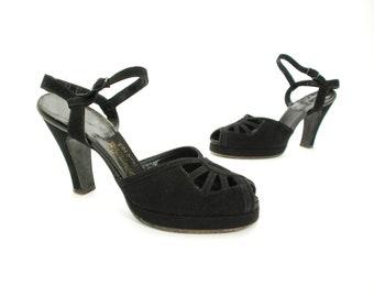 Vintage 1940s Shoes - Exquisite AirStep Jet Black Suede Ankle Strap Platform Pumps with Open Vamp 7 7.5