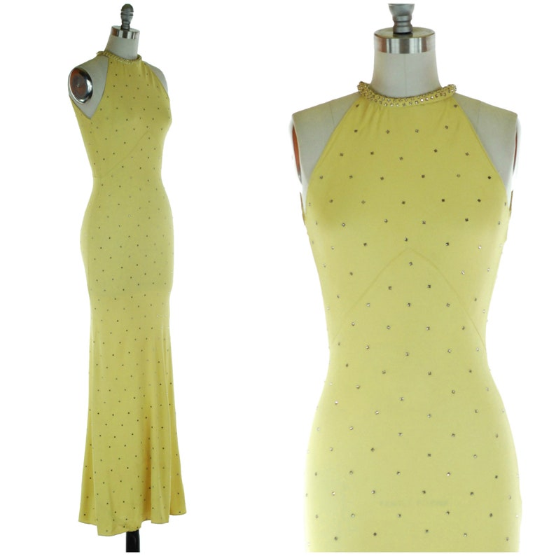 1930s Dress  Magnificent Vintage 30s Yellow Chartruese Bias image 0