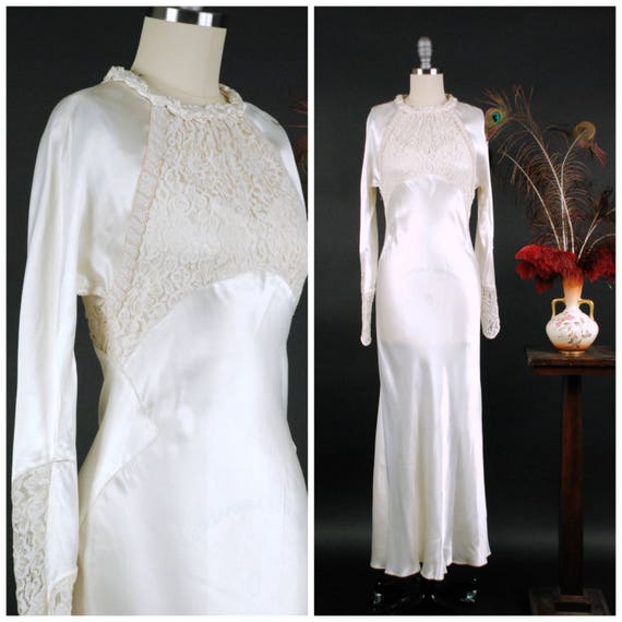 7b367ed4de9d Vintage 1930s Wedding Dress Exquisite Rayon Charmeuse Bias