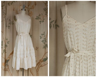 1970s Dress - The Dolores Dress - Vintage 70s Embroidered Eyelet Sundress with Sweetheart Neckline and Tiered Skirt