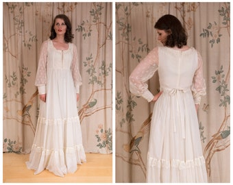 RESERVED Gunne Sax Dress - 1970s Vintage Gunne Sax Dreamy Ivory Core Prairie Wedding Dress with Corset Lacing Bodice and Sheer Sleeves