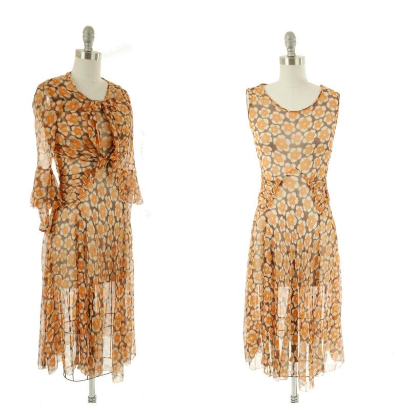 f533fd4885de Vintage 1930s Dress Rare Two Piece Ultra Sheer Art Deco