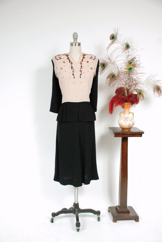 Vintage 1940s Color Block Swag Dress: Vintage 1940s Dress Fantastic Rayon Crepe Color Block