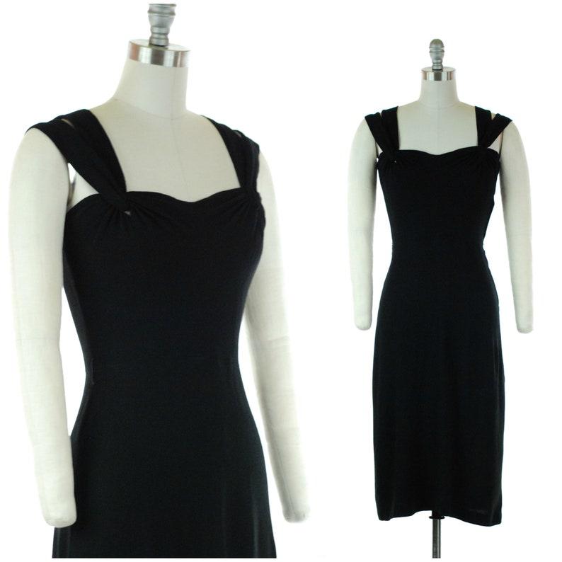 Vintage 1940s Dress  40s Little Black Dress in Rayon Crepe image 0