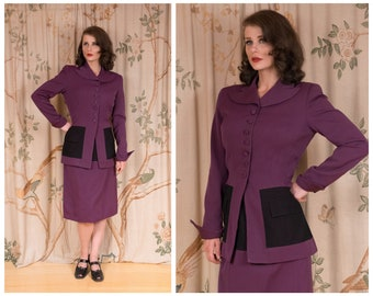 1940s Suit - The Moyer Suit -  Bold Vintage 40s Tailored Suit in Rare Purple and Black Two Tone Color Block with Pockets