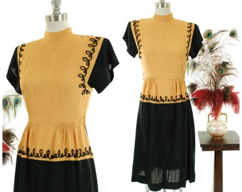 Vintage 1940s Dress -Fantastic Two Tone Color Block 40s Day Dress in Mustard and Black with Yarn Soutache