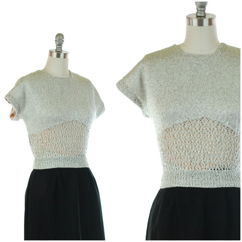 1950s Sweater  Rare Vintage 50s Metallic Silver Knit Sweater image 0