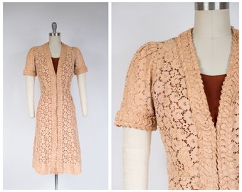 1930s Dress - Gorgeous Late 30s Cotton Lace Dress with Decorative Pleated Trim and Contrast Slip