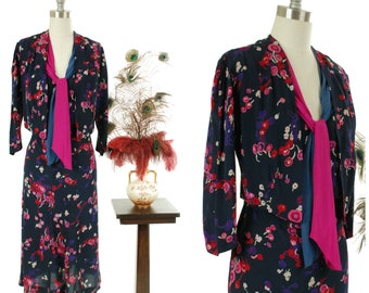 Vintage 1930s Dress - Bold Dark Floral 30s Silk Crepe Day Dress with Attached Pink and Purple Scarves and Faux Jacket