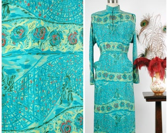 Vintage 1940s Dress - Phenomenal Novelty Print Silk 40s Day Dress with Mandarin Collar and Exquisite Motif of Ladies in an Atrium