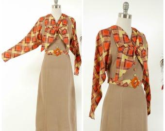 Vintage 1930s Dress - Autumn 2017 Lookbook - The Braeburn Dress - Fantastic Milk Chocolate Colored Wool with Orange and Yellow Silk Contrast