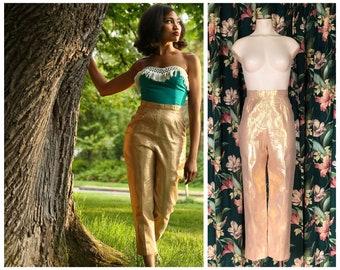 1950s Pants - Rare Bright Gold Lamé Bombshell Cigarette Pants