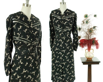 Vintage 1930s Dress - Sleek Cold Rayon 30s Day Dress in Deep Navy Blue with Bubble Novelty Print and Faggotting