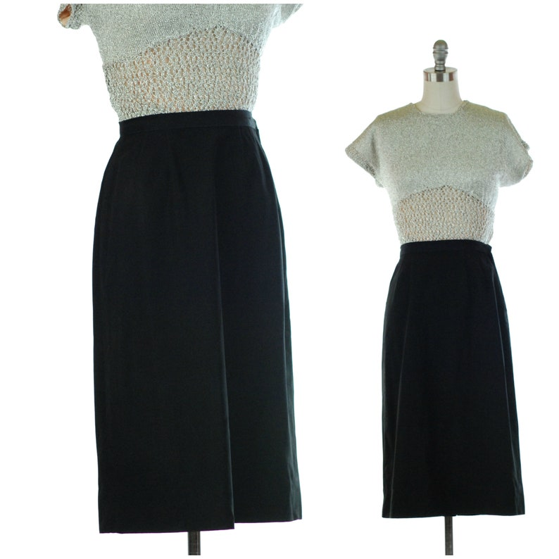 1950s Skirt  Classic Vintage 50s Straight Skirt of Tabby Wool image 0