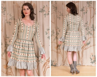 RESERVED 1960s Dress - The Antoinette Dress - Fantastic Vintage 60s CARMEN G Floral Mini Dress at the Intersection of Cottage Core & Lolita