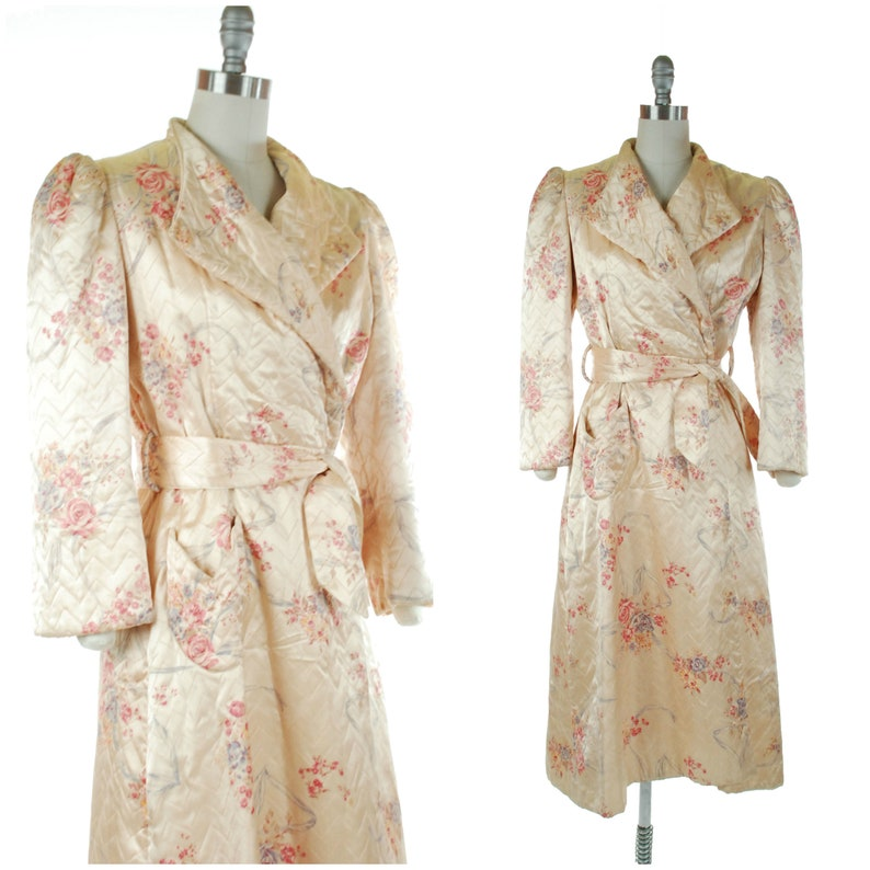 1950s Dressing Gown  Vintage 50s Fully Quilted Satin Dressing image 0