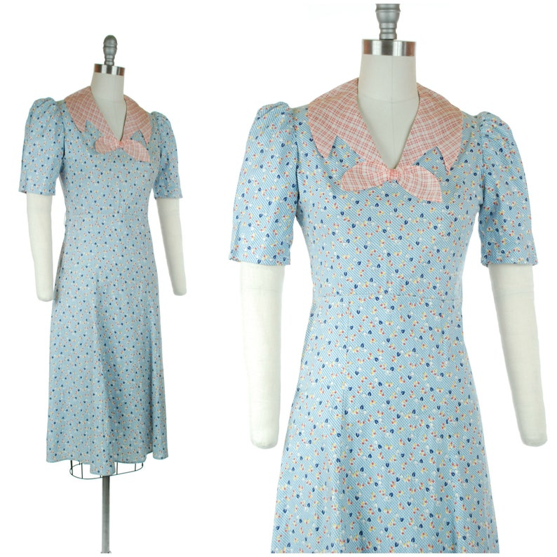 1930s Dress  Vintage 30s Cotton Day Dress with Leaf Print and image 0