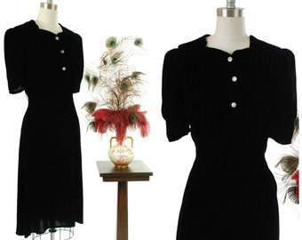 Vintage 1930s Dress - Plush Jet Black Rayon Velvet Late 30s Cocktail Dress with Peaked Shoulders and Ruched Bust XL