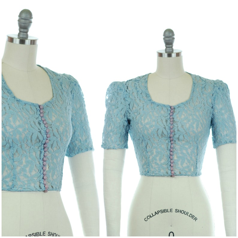 Vintage 1930s Blouse  Sheer 30s Blue Lace Blouse with Scoop image 0