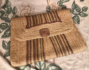 1930s Purse - Massive 1930s Woven Straw Envelope Purse with with Green and Brown Stripes Made in Haiti