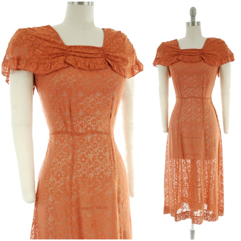 Vintage 1930s Dress   Absolutely Wonderful Peach-Pink Lace image 0