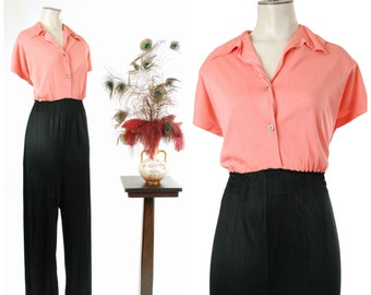 Vintage 1950s Jumpsuit - Comfy and Casual 50s Nylon Jersey Colorblock Pantsuit in Coral and Black with Elasticized Shirred Waist
