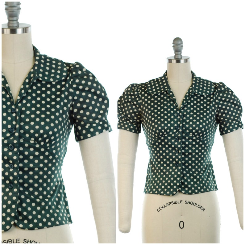 Vintage 1970s Blouse  70s Does 30s Puff Sleeve Green Polka image 0