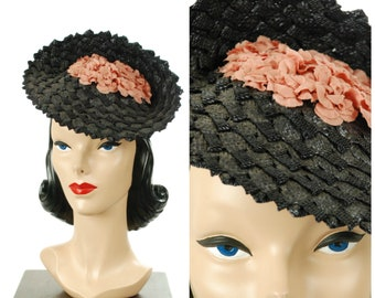 """Vintage 1940s Hat - Gorgeous """"Replica of Agnes Paris"""" Fantastic Navy Straw 40s Tilt Hat with Inverted Crown Filled with Rose Pink Flowers"""