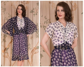 1930s Dress Set - The Fairway Dress -  Vintage 30s Silk Chiffon Two Piece Printed Dress with Caped Sleeve Jacket and Belt in Navy and White
