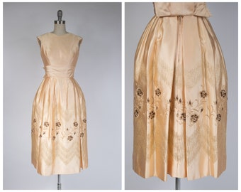 1960s Cocktail Dress - Dramatic Vintage 60s Champagne Colored Party Dress with Metallic Embroidery and Rose Motif