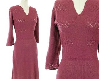 Vintage 1930s Sweater Dress - Wonderful 40s Plummy Purple Fine Silk Knit Sweater Dress with Open Work