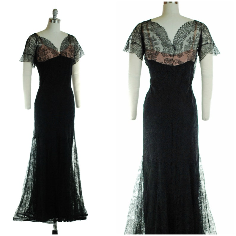 1930s Dress  Alluring Vintage 30s Nude Illusion and Black image 0
