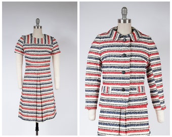 1960s Dress Set - Richly Textured 60s Mod Two Piece Set in Woven Cream, Red, Black and Blue Textural Stripes