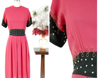 1940s Vintage Dress - Sensational Fuchsia and Black Rayon Colorblock 40s Dress with Elaborate Shiny Silver Studs and Golden Soutach